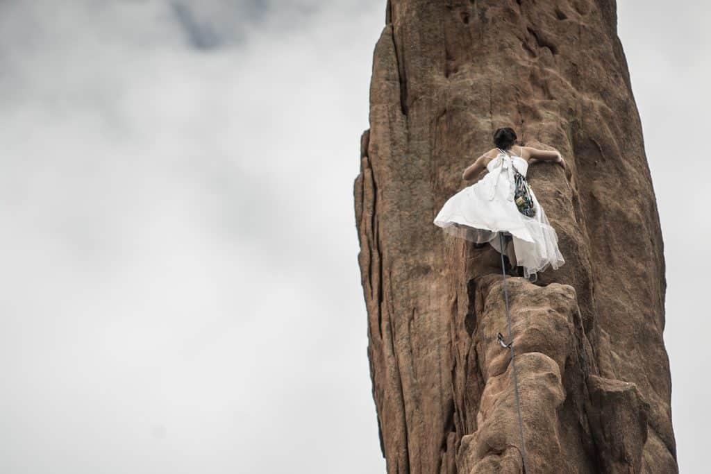successful entrepreneur rock climbing