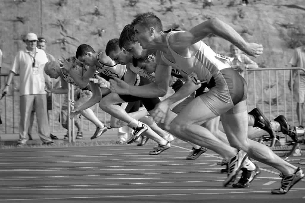 Successful entrepreneur sprinting